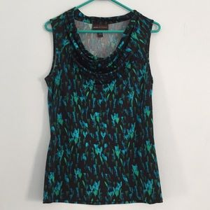 Women's cowl neckline stretchy top blue green